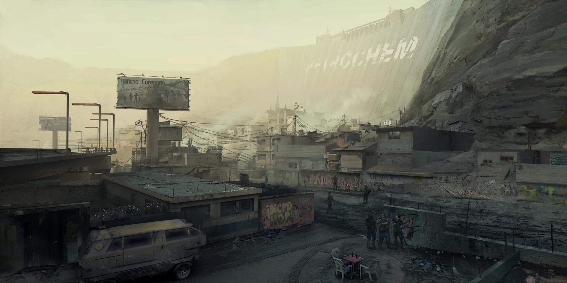 Artes Conceituais de Cyberpunk 2077 mostram favela do jogo